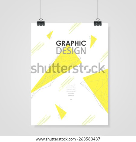 lovely poster template design with yellow triangle element - stock vector