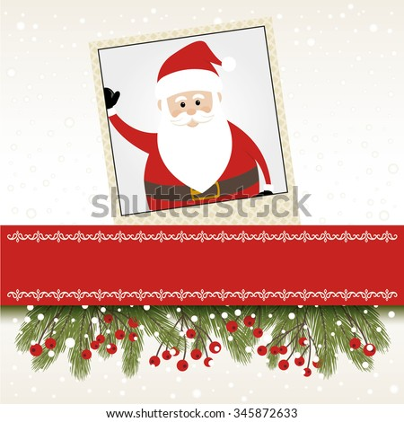 Lovely Santa in a Photo Frame and Banner - stock vector