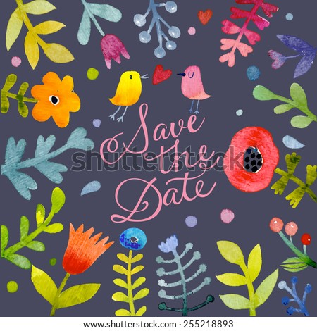 Lovely Save the Date card with charming birds in love. Awesome flowers made in watercolor technique. Bright romantic card with summer flowers in vector. Tremendous background for romantic designs - stock vector