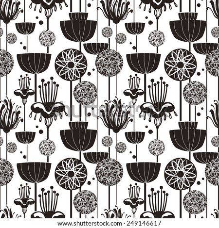 lovely seamless pattern in doodle style over white - stock vector