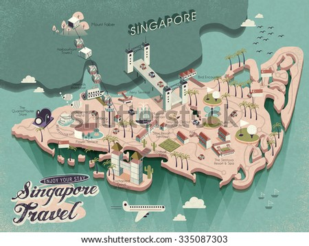 lovely Singapore must see attractions travel map in 3d isometric design - stock vector