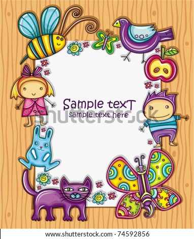 Lovely spring composition on wooden background with space for your text, surrounded by colorful flowers, apple and butterflies, bumblebee, bird, cat and bunny. Two little cute kids girl and boy. - stock vector
