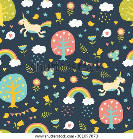 Lovely vector seamless pattern with cute unicorns, trees, hearts, birds, clouds, rainbows, butterflies and flowers in bright colors. Seamless pattern can be used for wallpapers, web page backgrounds. - stock vector