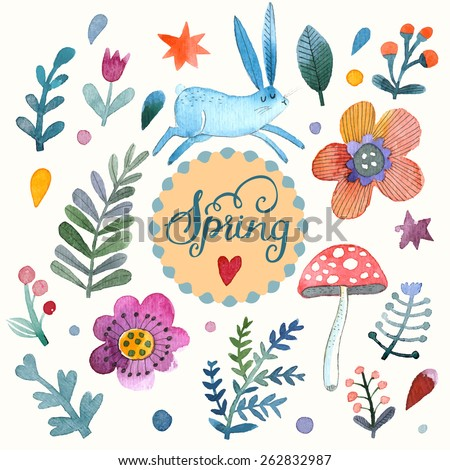 Lovely vector set with sweet rabbit, flowers, leafs and mushroom in awesome colors. Stunning spring theme card made in watercolor technique. Bright concept card with text in vector - stock vector