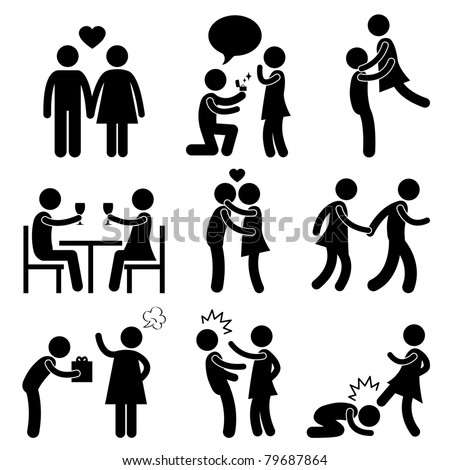 Lover Couple Love Proposal Wedding Marriage Hug Romantic Kissing Holding Hand Gift Angry Slap Kick - stock vector