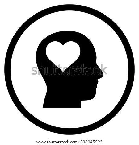 Lover Head vector icon. Picture style is flat lover head rounded icon drawn with black color on a white background. - stock vector