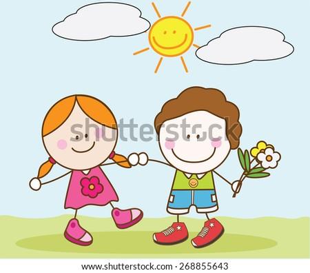 Lover kids  - stock vector