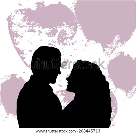 Lovers black and white silhouette.  A man and woman looking at each other - vector - stock vector