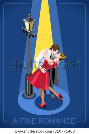 Lovers Couple Romantic Love Concept People Unique IsometricRealistic Poses 3D Flat Illustration True Love in Paris French Kiss Under a Streetlight Vector JPEG JPG EPS 10 Image AI Object Picture Art - stock vector
