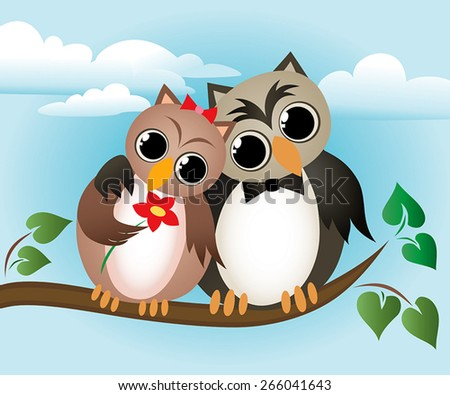 Lovers owl sitting on a branch. - stock vector