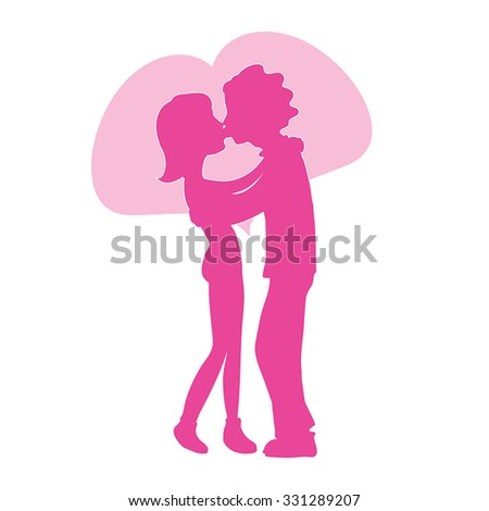 Lovers vector silhouette - romantic couple in love kiss vector illustration. Young man and woman silhouettes kissing with Pink heart behind. Love cartoon illustration. Date concept. On white. Eps 10. - stock vector