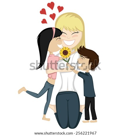 Lovin' mommy collection - A cute black haired girl and a brown boy surprise their blonde mom. - stock vector