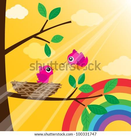 Loving bird feeding with rainbow - stock vector