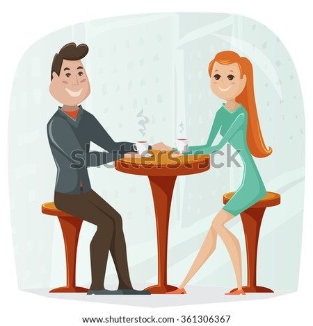 Loving couple in a cafe. Vector cartoon illustration in retro style - stock vector