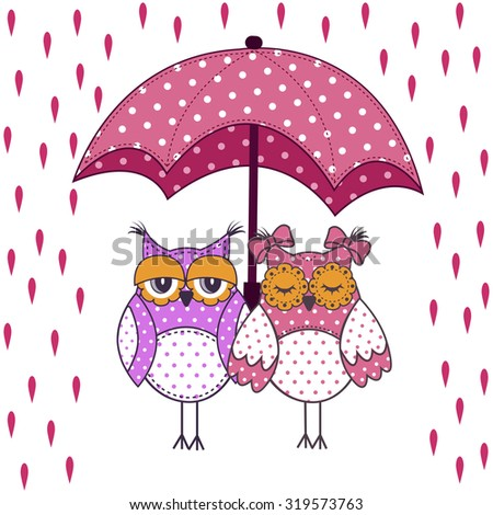 loving couple of owls with umbrella in the rain on a white background - stock vector