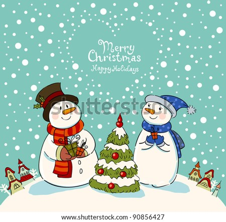 Loving couple of snowmen with gifts beside christmas tree.Greeting card - stock vector