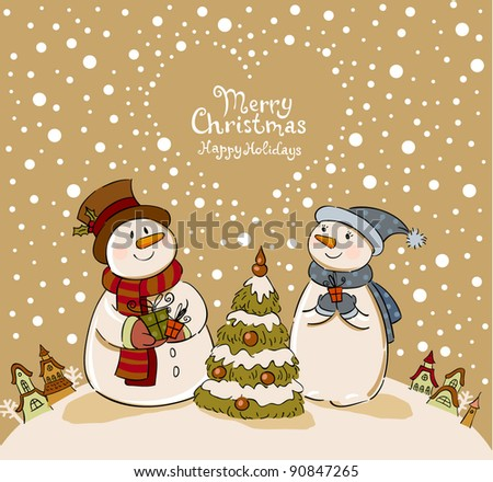 Loving couple of snowmen with gifts beside christmas tree. Vintage Greeting card - stock vector