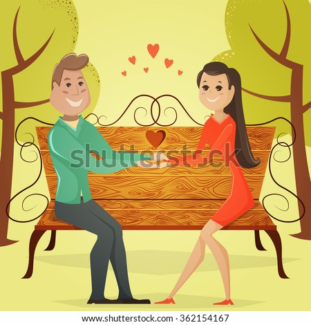 Loving couple on a bench in the park. Cartoon vector illustration in retro style - stock vector