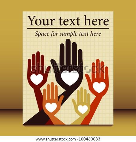Loving happy hands leaflet design. - stock vector