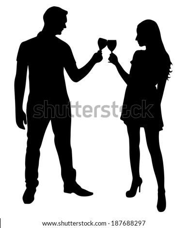 loving young couple toasting wine glasses, vector  - stock vector