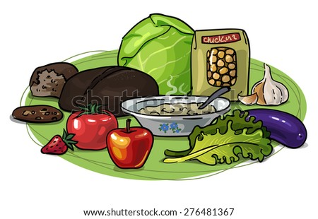 Low-carb diet Vector drawing hand with Useful Healthy vegetarian food, vegetables, fruits and grains Low carbohydrates for weight loss Composition variable - stock vector