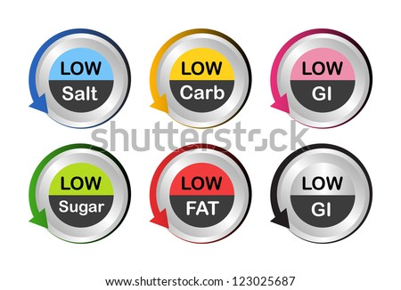 Low fat, low salt, low carb, low sugar and low Glycemic Index (GI) food labels in metallic button. - stock vector