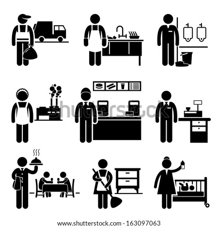 Low Income Jobs Occupations Careers - Garbage Man, Dishwasher, Janitor, Factory Worker, Fast Food Server, Cashier, Waiter, Maid, Nanny - Stick Figure Pictogram - stock vector