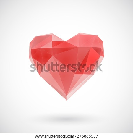 Low polly diamond heart . Vector illustration - stock vector