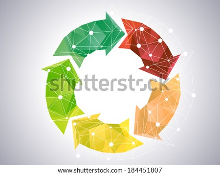 Low-poly Abstract Color Circle - stock vector