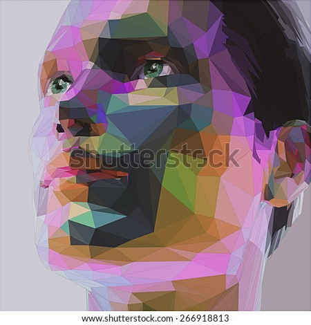 Low poly abstract portrait man - stock vector