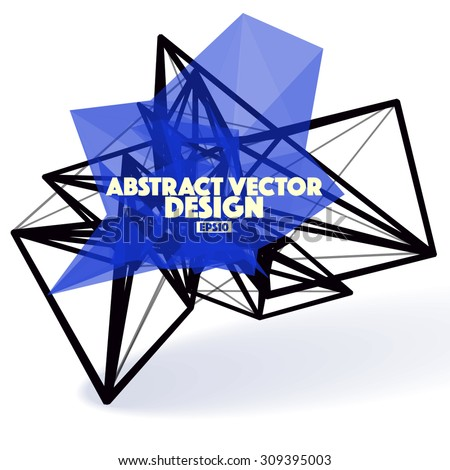 Low Poly Abstract Vector Design Element with Connection Lines - stock vector
