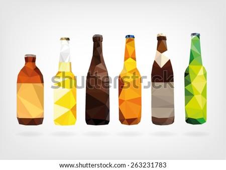 Low Poly Beer Bottles - stock vector