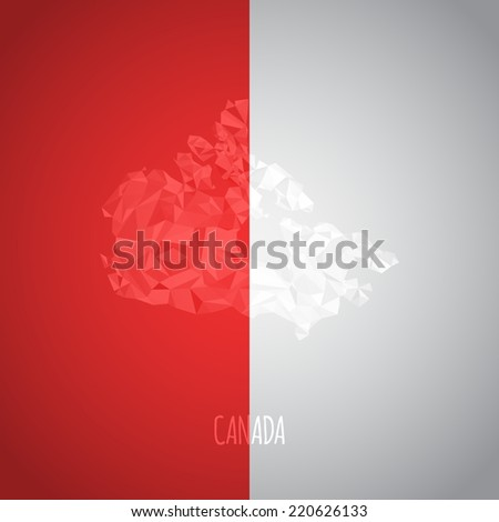 Low Poly Canada Map with National Colors - Infographic - Vector Illustration - stock vector