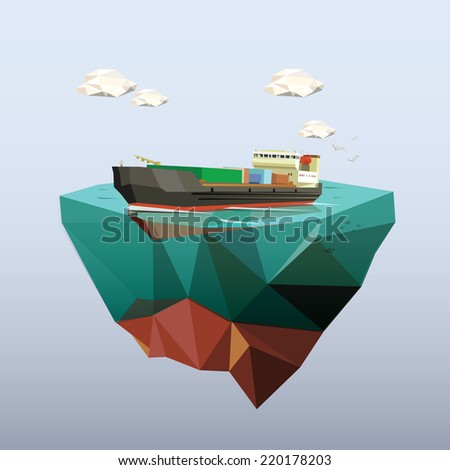 Low poly cargo ship salared across ocean. Low poly vector illustration. - stock vector