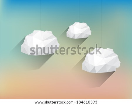 Low poly Clouds with Long Shadow on Blurred Background - stock vector