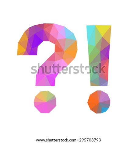 low poly exclamation mark question isolated polygonal - stock vector