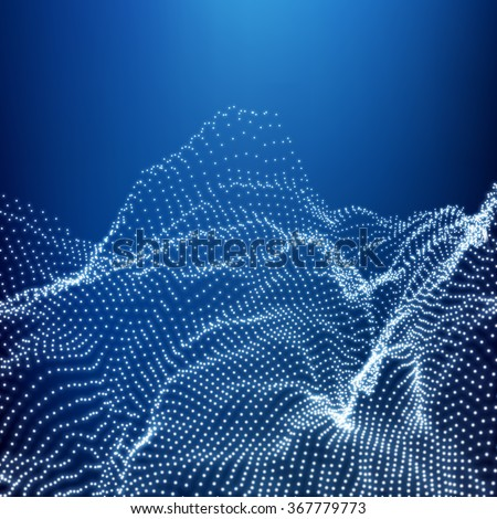 Low Poly Geometric 3D Mountain Landscape. Mountainous Terrain. Cyberspace Grid. 3D Wireframe Terrain. Mountain Design. Abstract Background with Dotted Grid. A Glowing Grid. 3D Technology Vector. - stock vector