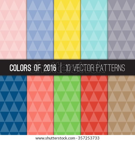 Low Poly Geometric Patterns in Rose Quartz and Serenity and other 2016 Colors of the Year. Faceted Triangular Style Backgrounds. Vector EPS File's Pattern Swatches Made with Global Colors. - stock vector
