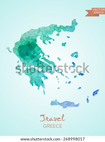 Low Poly Greece Map isolated. Vector version - stock vector