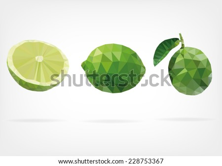 Low Poly Green Lime  - stock vector