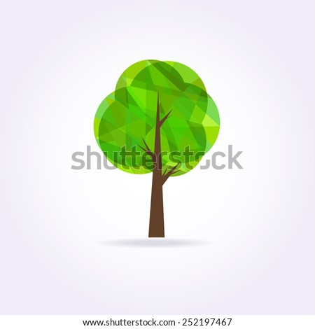 Low poly green tree icon . Vector illustration. - stock vector