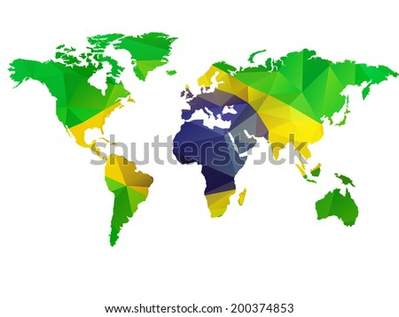 Low Poly illustration of the World with Flag of Brazil - stock vector