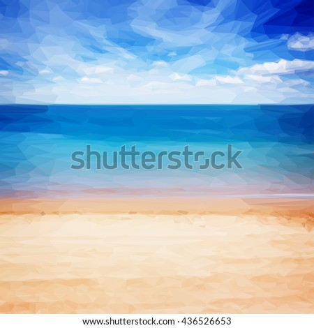 Low poly illustration sandy beach shore with blue sea waters and cloudy sky, instagram retro toned - stock vector