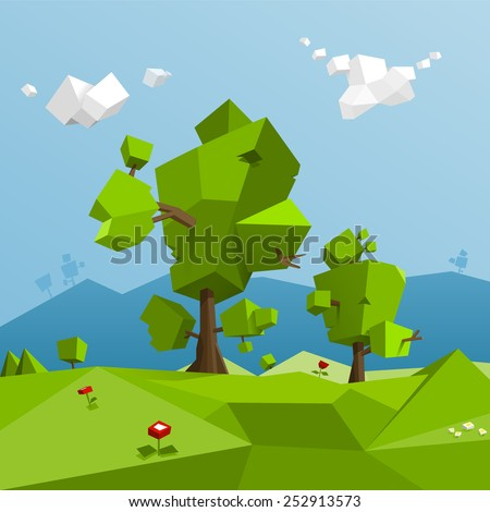 Low poly landscape - stock vector