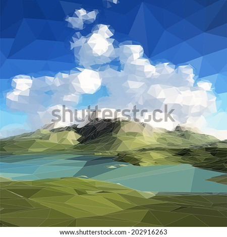 low poly landscape. Mountains, clouds and blue sky. Vector illustration - stock vector
