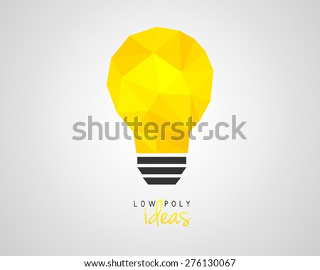 Low poly light bulb as an idea symbol - stock vector
