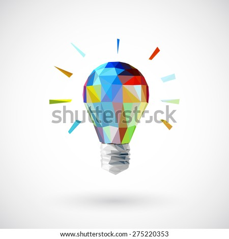 Low poly  light bulb Idea concept background design for poster flyer cover brochure  - stock vector