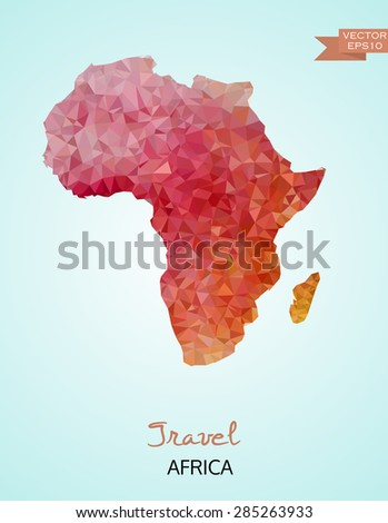 Low poly map of Africa isolated on background. Vector version - stock vector
