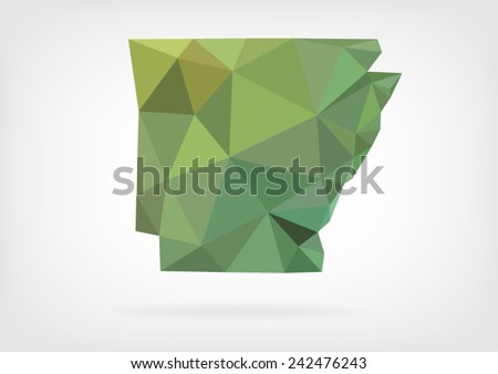 Low Poly map of Arkansas state - stock vector