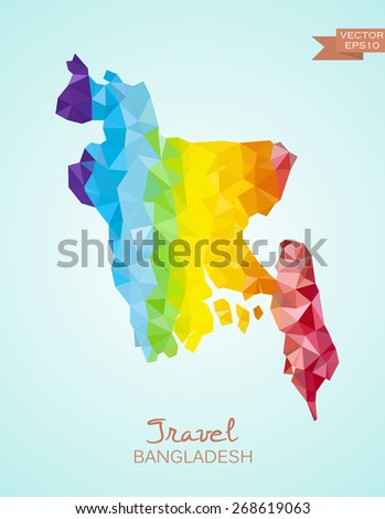 Low poly map of Bangladesh isolated. Vector version - stock vector